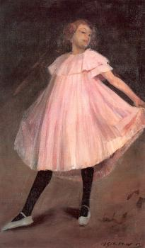 William James Glackens : Dancer in a pink dress