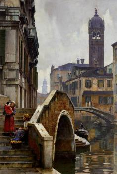 William Logsdail : The Ponte Dei Pugni Venice With The Campanile Of Sta Fosca Beyond