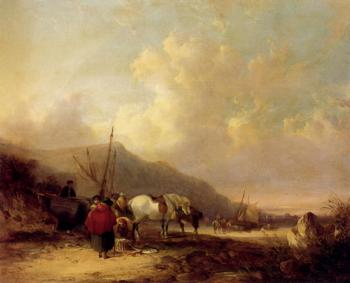 Snr William Shayer : A Busy Beach Scene