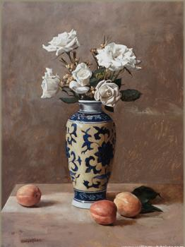 White Roses and Three Apricots