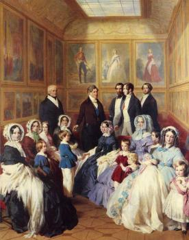 Franz Xavier Winterhalter : Queen Victoria and Prince Albert with the Family of King Louis Philippe
