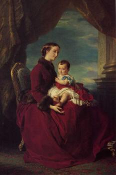 Franz Xavier Winterhalter : The Empress Eugenie Holding Louis Napoleon the Prince Imperial on her K