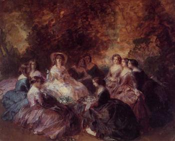 Franz Xavier Winterhalter : The Empress Eugenie Surrounded by her Ladies in Waiting 1855