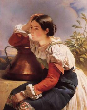 Franz Xavier Winterhalter : Young Italian Girl by the Well