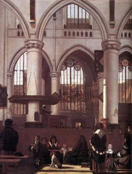 The Interior of the Oude Kerk Amsterdam, during a Sermon