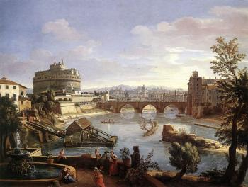 Caspar Andriaans Van Wittel : The Castel Sant'Angelo from the South