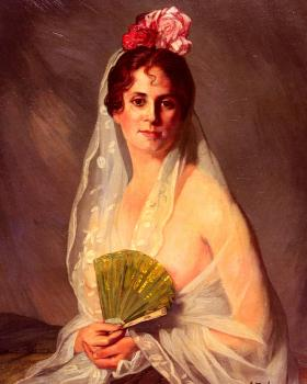 Ignacio Zuloaga Y Zabaleta : A Lady With A Fan