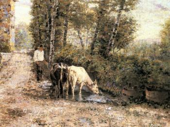 Eugenio Zampighi : Cows Watering at a Quiet Pool