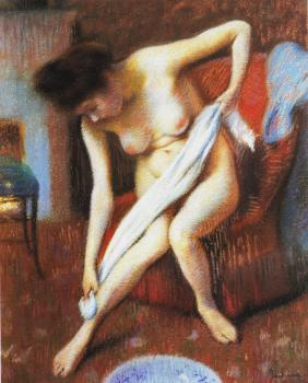 Woman drying herself