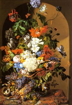 A Still Life with Flowers and Grapes