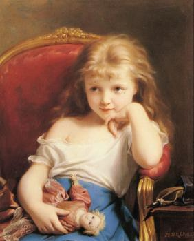 Fritz Zuber-Buhler : Young Girl Holding a Doll