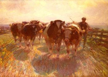 Heirich Von Zugel : Cattle Drive on the Farm Road
