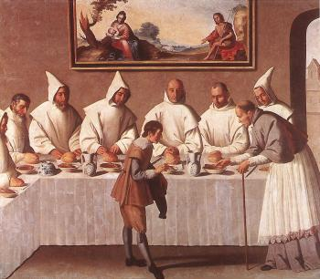 Francisco De Zurbaran : St Hugo of Grenoble in the Carthusian Refectory