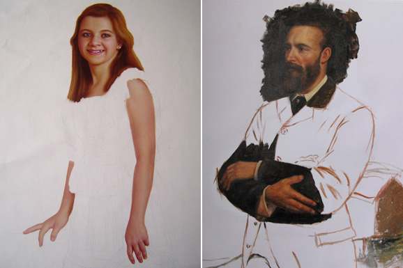 Custom handmade portrait paintings from photo