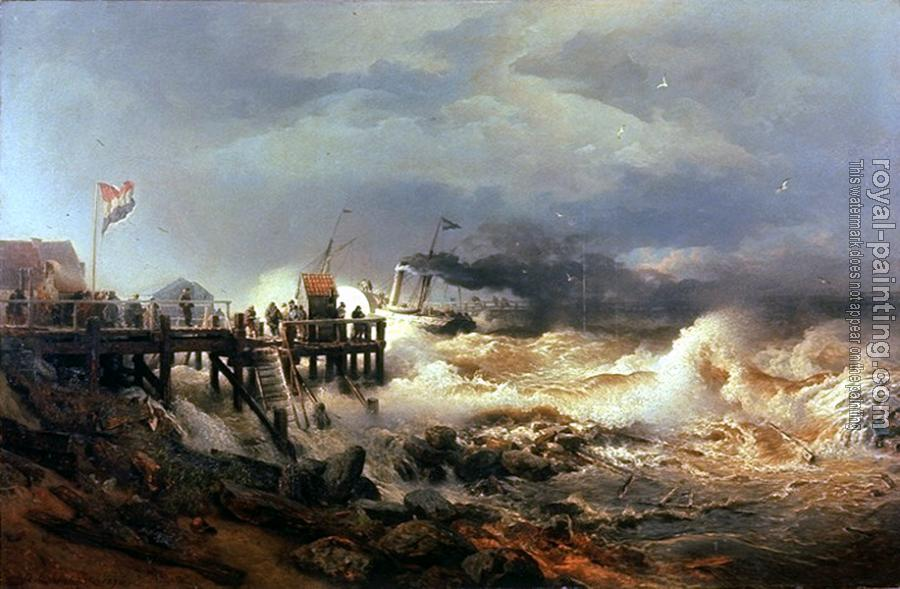 Andreas Achenbach : Storm at Dutch Coast