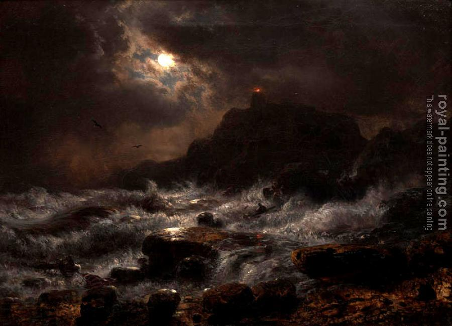 Andreas Achenbach : Norwegian Coast by Moonlight