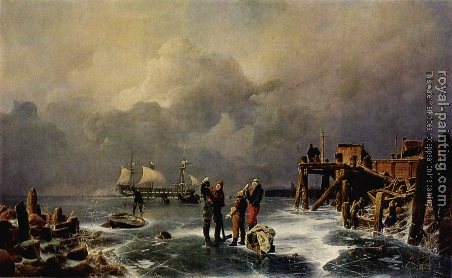 Andreas Achenbach : Bank of the Frozen Over Sea (Winter Landscape ), (Ufer des zugefrorenen Meeres Winterlandschaft)