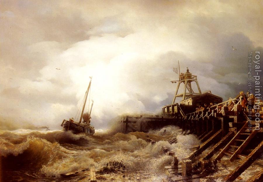 Andreas Achenbach : A Fishing Boat Caught In A Squall Off A Jetty