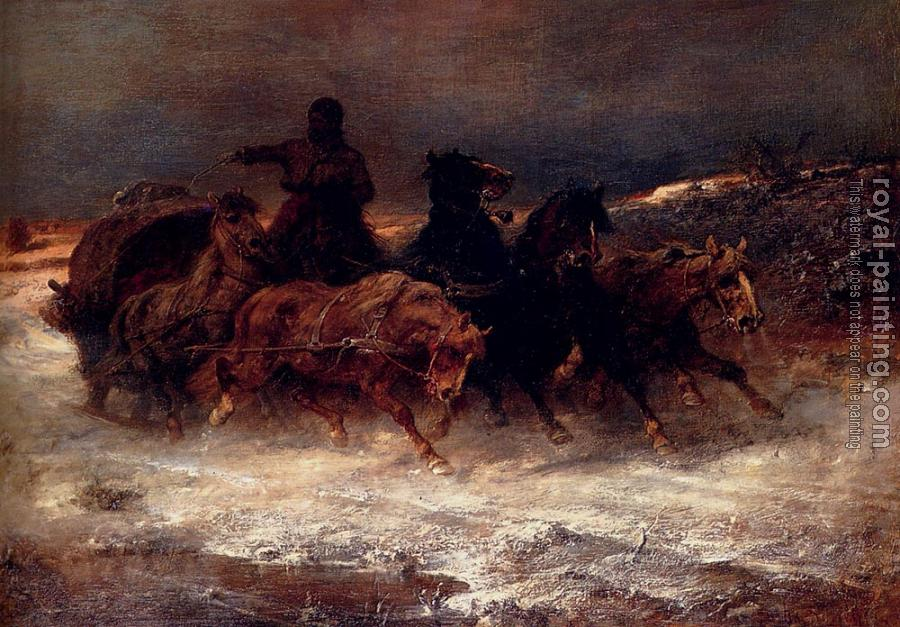 Adolf Schreyer : A Troika In Winter