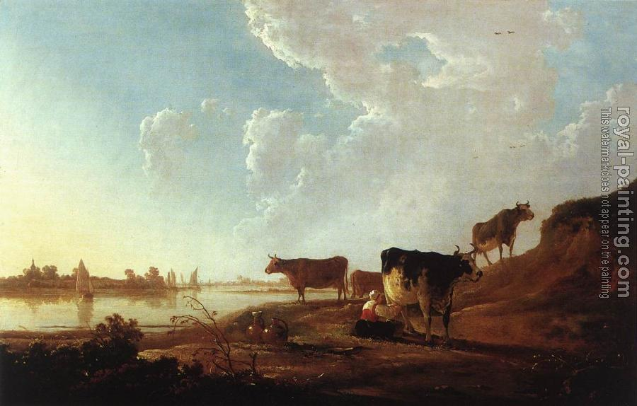 Aelbert Cuyp : River Scene With Milking Woman