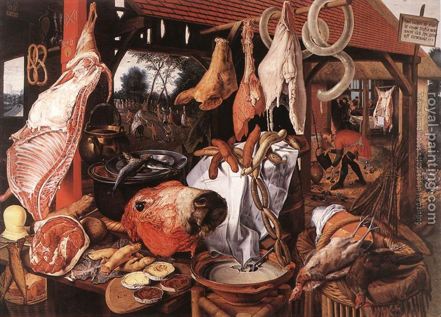 Pieter Aertsen : Butcher's Stall with the Flight into Egypt