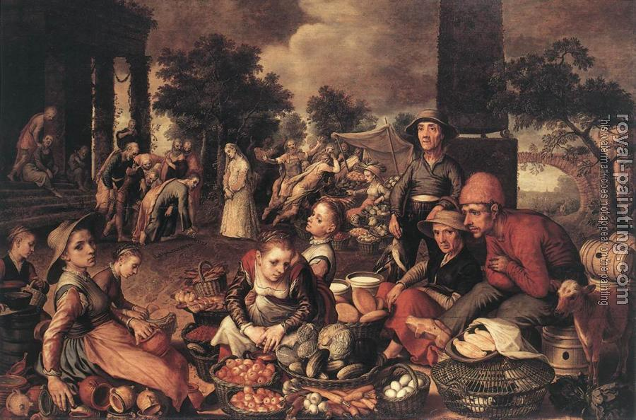 Pieter Aertsen : Market Scene with Christ and the Adulteress