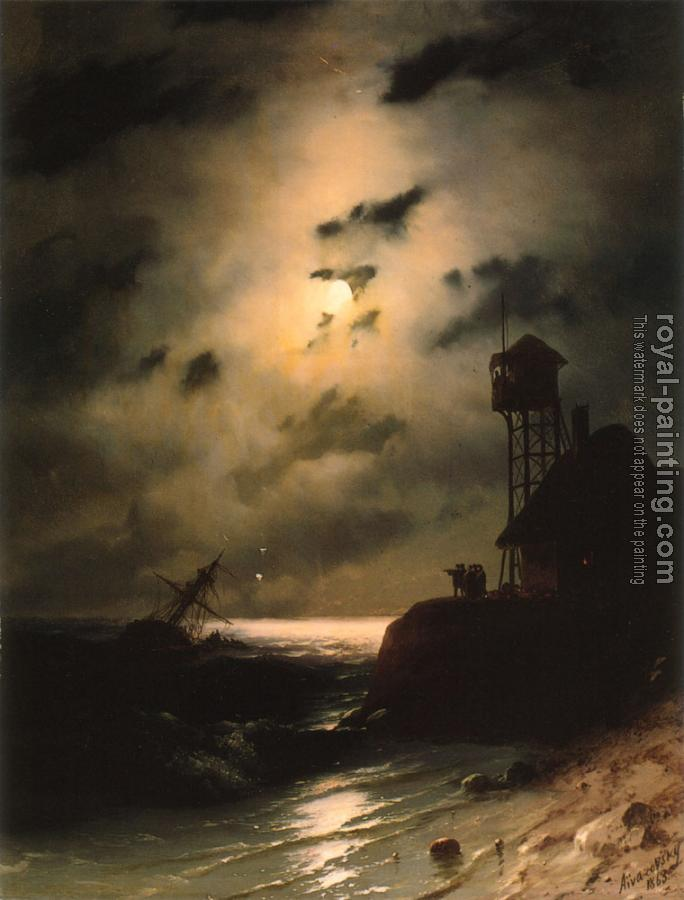 Ivan Constantinovich Aivazovsky : Moonlit Seascape With Shipwreck