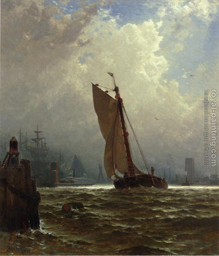 Alfred Thompson Bricher : New York Harbor with the Brooklyn Bridge Under Construction