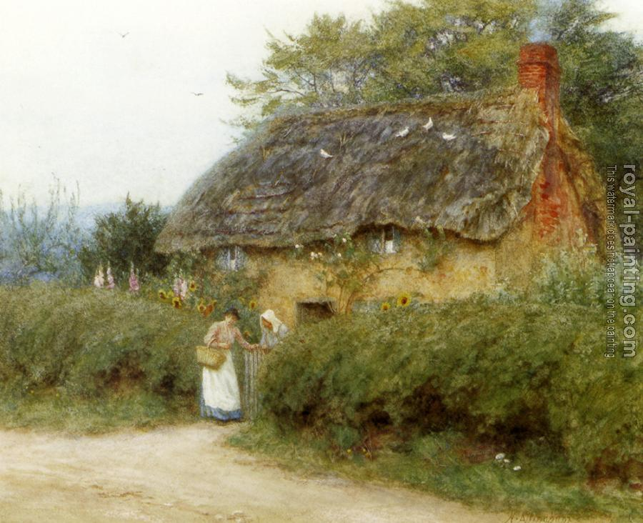 R.W.S. Helen Mary Elizabeth Allingham : A Cottage With Sunflowers At Peaslake