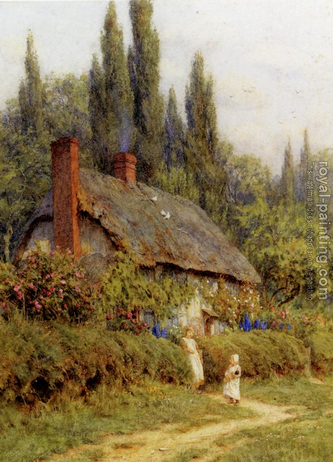 R.W.S. Helen Mary Elizabeth Allingham : Children On A Path Outside A Thatched Cottage, West Horsley, Surrey
