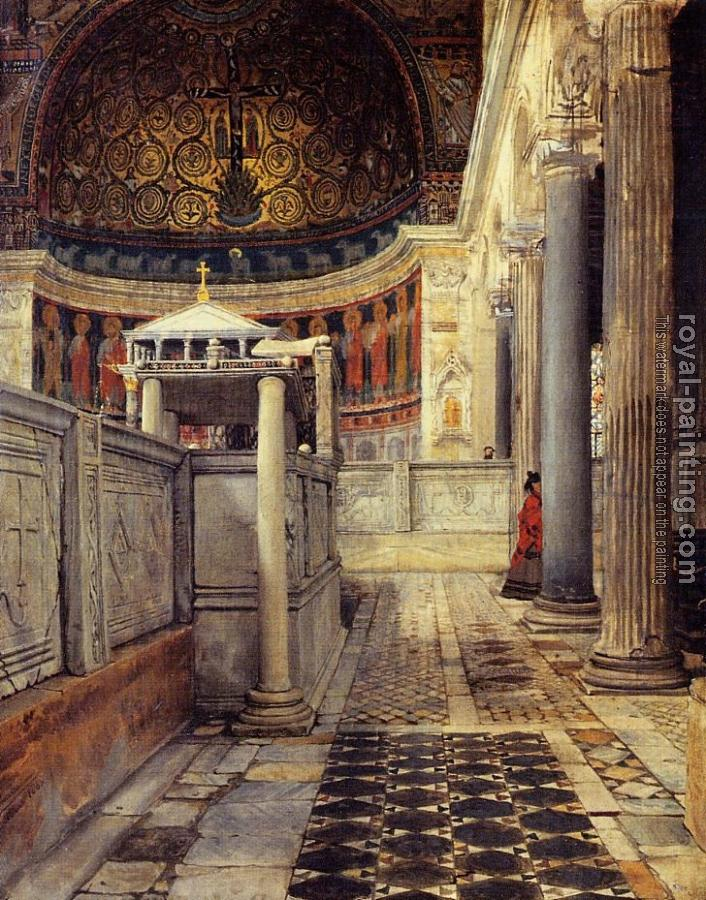 Sir Lawrence Alma-Tadema : Interior of the Church of San Clemente, Rome