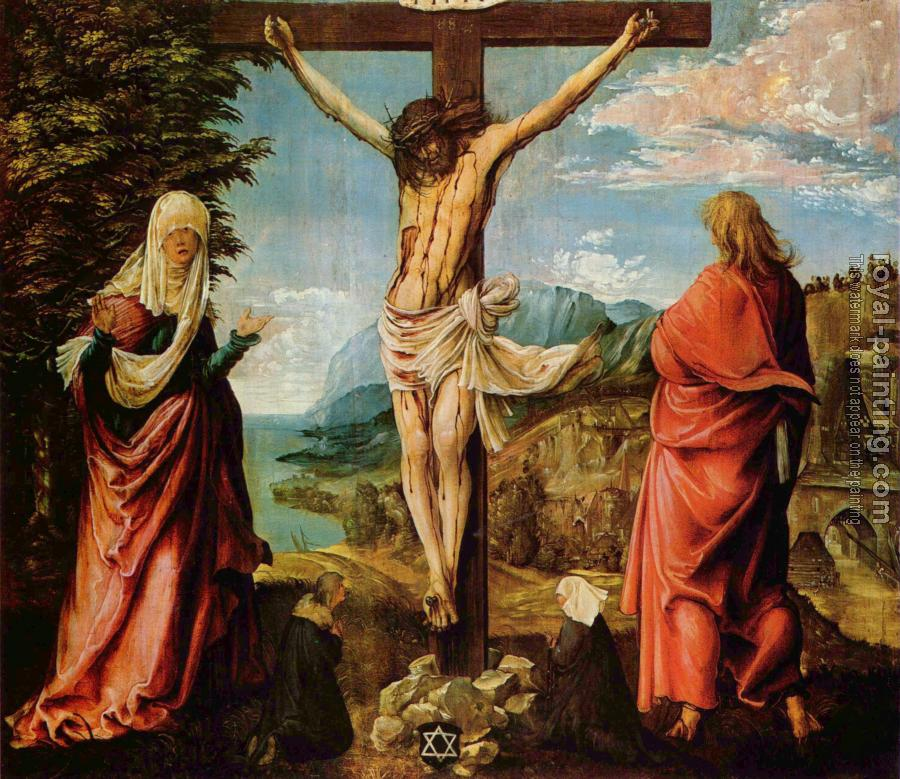 Albrecht Altdorfer : Crucifixion scene, christ on the cross with mary and john