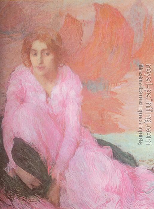 Edmond Francois Aman-Jean : Dame en Rose (Lady in Pink)