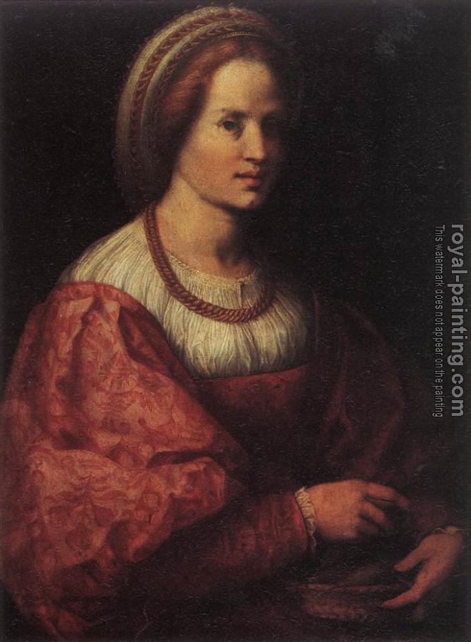 Andrea Del Sarto : Portrait of a Woman with a Basket of Spindles