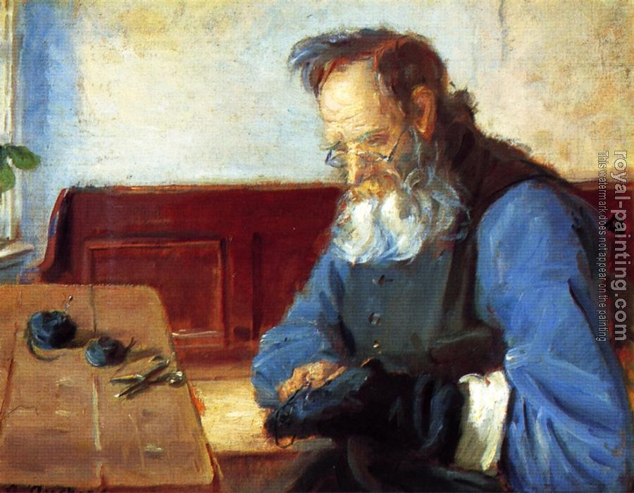Anna Ancher : A man mending socks