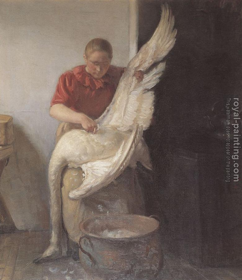 Anna Ancher : A young girl plucking a swan