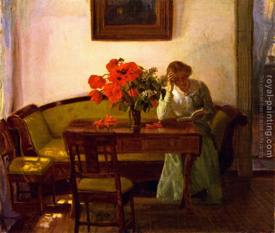 Anna Ancher : Interior with red poppies