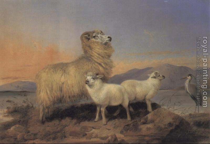 Richard Ansdell : A Ewe with Lambs and a Heron Beside a Loch