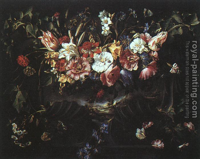 Juan De Arellano : Graphic Garland of Flowers with Landscape