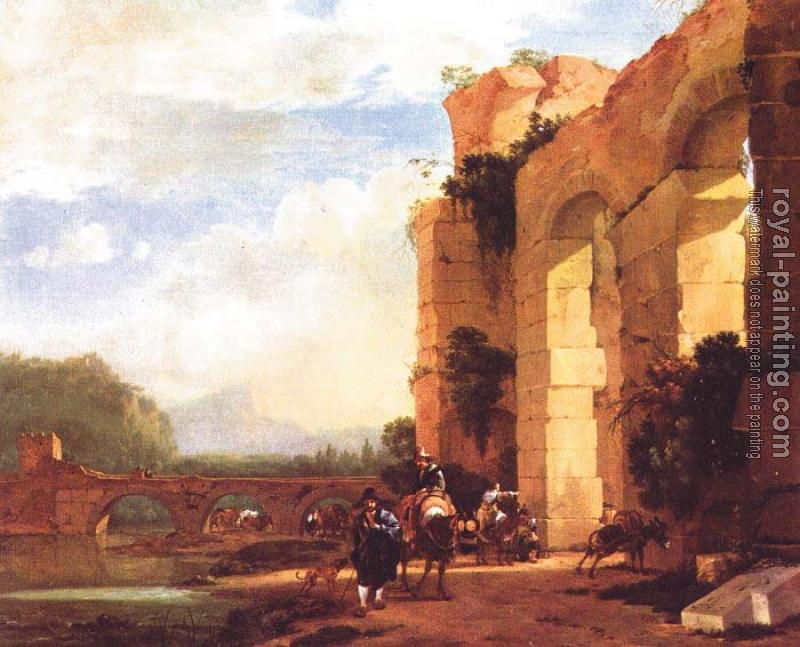 Jan Asselijn : Graphic Italian Landscape with the Ruins of a Roman Bridge and Aqueduct