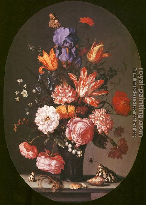 Balthasar Van Der Ast : Graphic Flowers in a Glass Vase