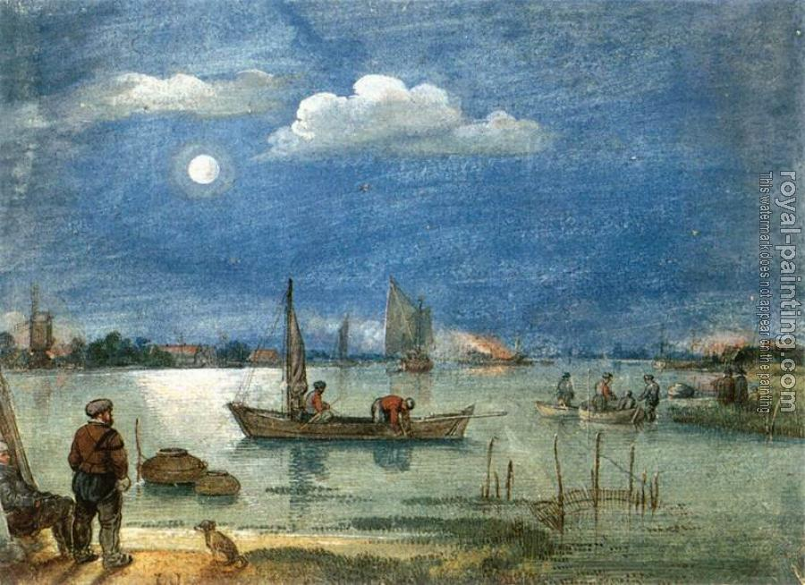 Hendrick Avercamp : Fishermen By Moonlight