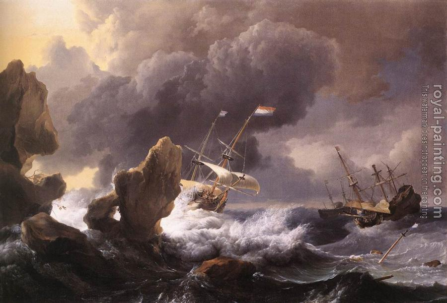 Ludolf Backhuysen : Ships in Distress off a Rocky Coast