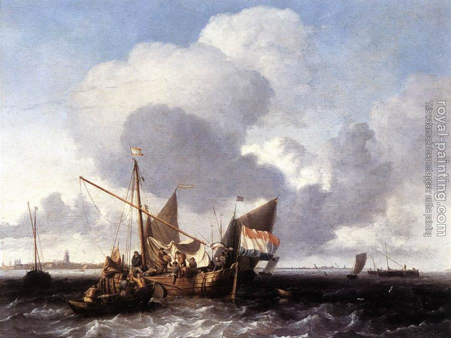Ludolf Backhuysen : Ships on the Zuiderzee before the Fort of Naarden
