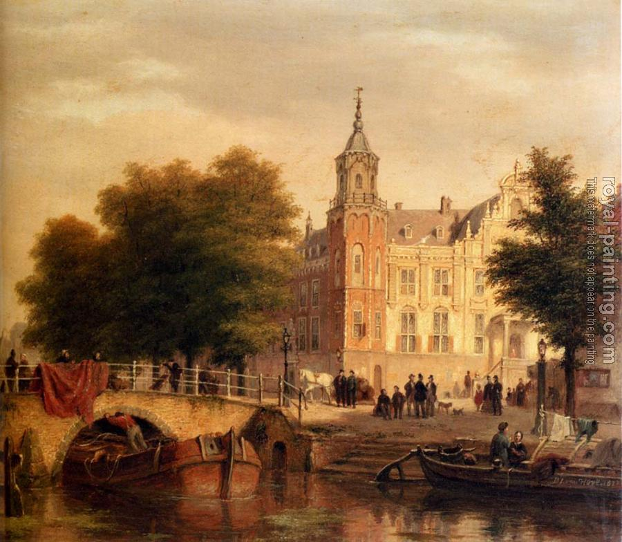 Bartholomeus Johannes Van Hove : A Sunlit Townview With Figures Gathered On A Square Along A Canal