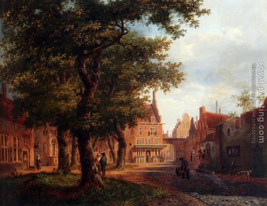 Bartholomeus Johannes Van Hove : A Village Square With Villagers Conversing Under Trees