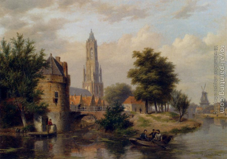 Bartholomeus Johannes Van Hove : View Of A Riverside Dutch Town