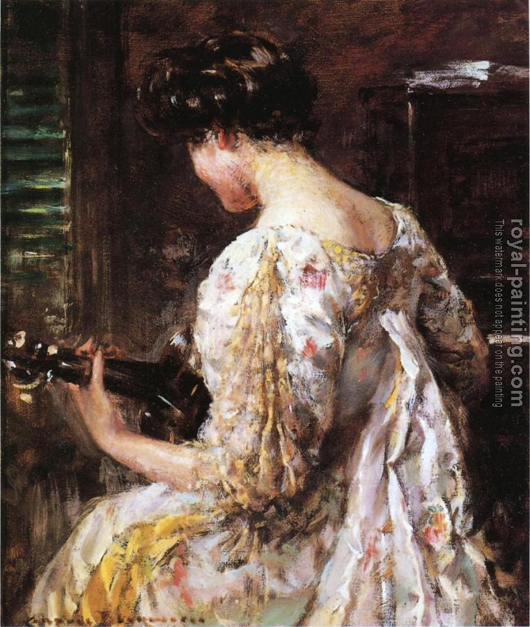 James Carroll Beckwith : Woman with Guitar