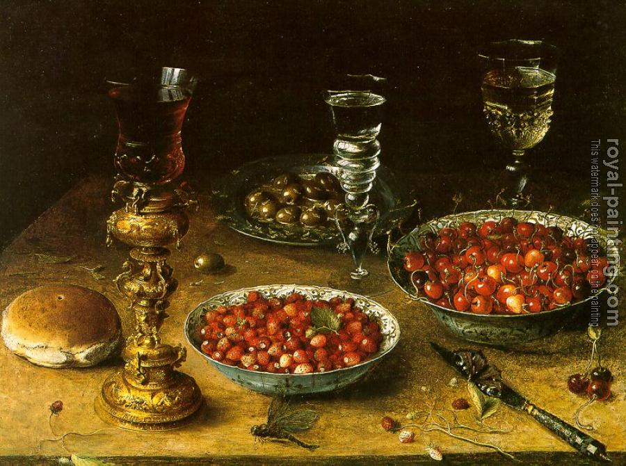 Graphic Still-Life with Cherries and Strawberries in China Bowls