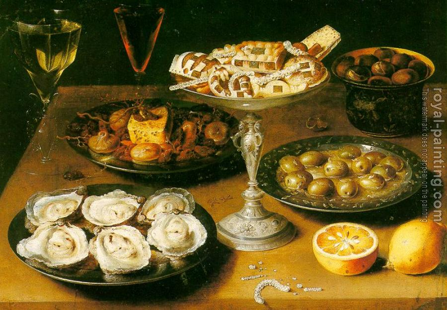 Osias Beert : Graphic Still-Life with Oysters and Pastries